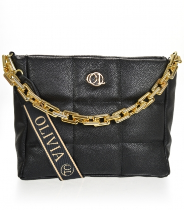 Black smaller quilted handbag with WANDA chain