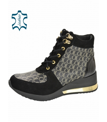 Insulated black and gold sneakers with monogram OL DKO2267