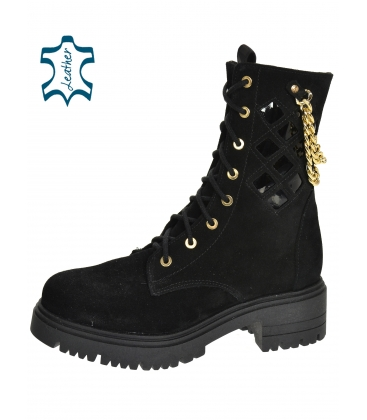 Black perforated ankle boots with gold decoration DKO2278