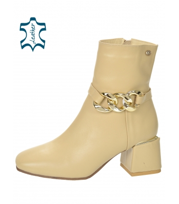 Beige ankle heeled boots with decoration 2285
