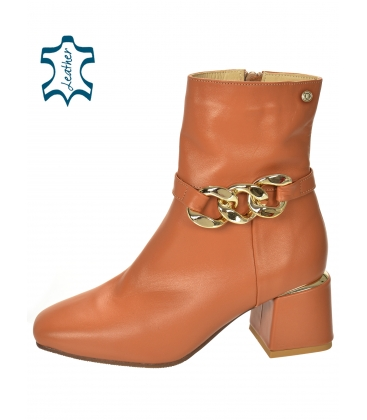 Brown ankle heeled boots with decoration 2285