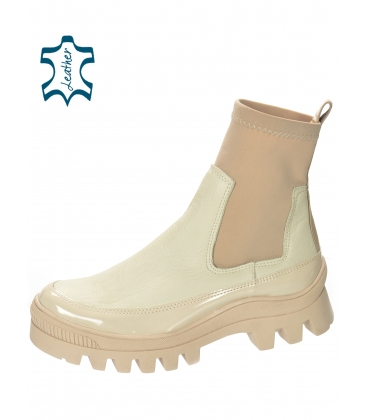Beige ankle boots with elastic material DKO2276