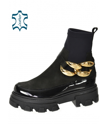 Black ankle lacquered boots with elastic material and gold decoration DKO2284