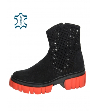 Black perforated ankle boots on a black-red sole Venus DKO6002