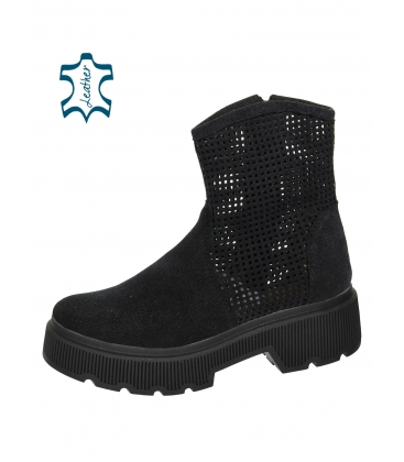 Black perforated ankle boots on a black sole Amalfi DKO6002
