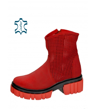 Red perforated ankle boots on a black-red sole Venus DKO6002