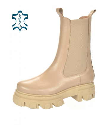 Bege low boots with elastic material 8120