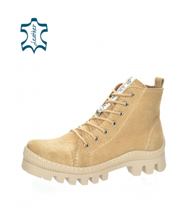 Bege ankle leather sneakers 8129