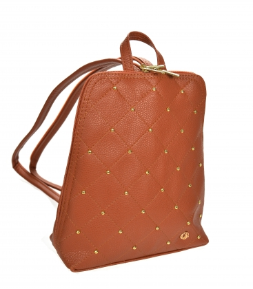 Brown backpack with gold TV applications