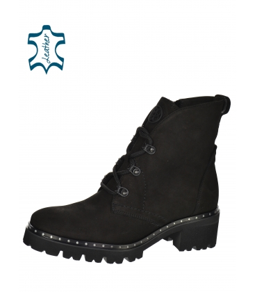 Black ankle boots made of sanding leather on a decorated sole 2252