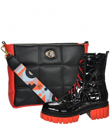 Discounted set of black-red leather workers with a croco pattern on the Venus sole DKO2279 + WANDA black-red quilted handbag