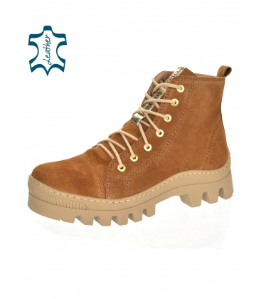 Brown ankle leather sneakers 8129