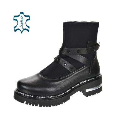 Black ankle boots with decorative stripes 8153