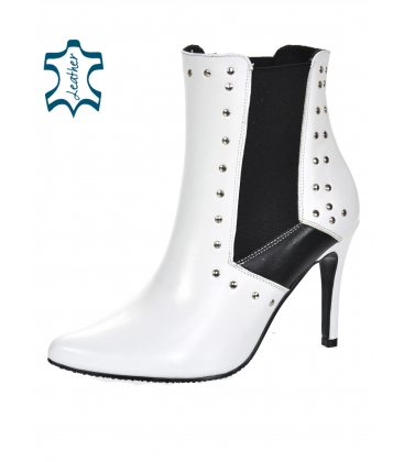 White and black ankle boots with embellishments 8155-B299 / B109