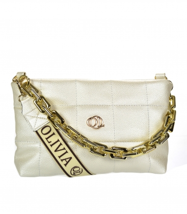 Pearl white smaller quilted handbag with chain WANDA